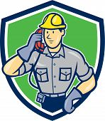 Telephone Repairman Phone Shield Cartoon