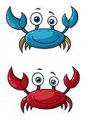 foto of claw  - Red and blue funny smiling cartoon crabs characters with raised claws isolated on white background - JPG