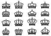 Royal crowns set in black on white background