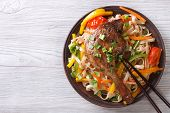 Rice Noodles With Duck Leg And Vegetables Horizontal, Top View