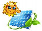 Sun energy concept with cartoon sun character