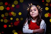 Girl Portrait Whit Christmas Lights