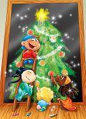 Kids drawing Christmas tree
