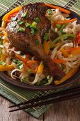 Roasted Duck Leg With Rice Noodles And Vegetables Closeup. Vertical