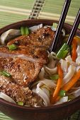 Chinese Soup Of Duck And Rice Noodle Vertical Top View