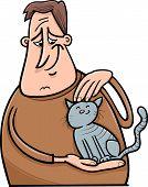 Man And Cat Cartoon Illustration