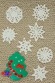 Jute Yarn Knitted Fabric, Snowflakes, Christmas Tree