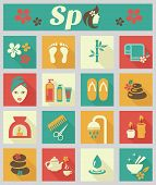 Colored flat spa icons