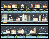 Winter cityscape in flat style