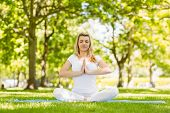 Fit blonde sitting in lotus pose in the park on a sunny day