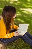 Side view of relaxed female college student reading book in the park