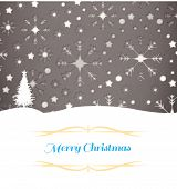 Christmas greeting card against snowflake wallpaper pattern