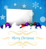 Christmas greeting card against poster with baubles