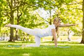 Fit blonde doing yoga in the park on a sunny day