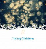 Christmas greeting cardl against shimmering light design on black