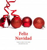 Feliz navidad against christmas tree border