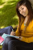 Portrait of female college student doing homework in the park