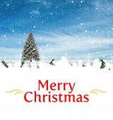 Merry Christmas message against christmas scene