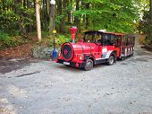 Red Eco Tourist Train In Park