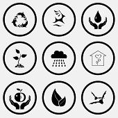 Nature set. Black and white set vector icons.