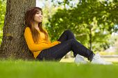 Side view of beautiful young woman sitting against tree in the park