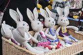 funny handmade Easter rabbits in a market