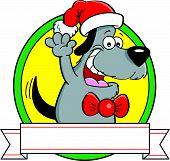 Cartoon dog with a banner.
