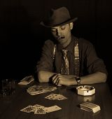 Old Style Gambler With Cigar And Glass