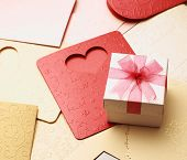 the gift box on greeting card for celebration events