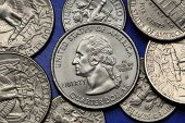 Coins of USA. George Washington depicted on the US quarter coin.