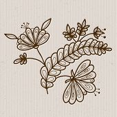 Flower Elements On A Striped Background