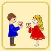 Valentine's Day Cute  Figure Kids Holding Hearts Vector