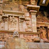 foto of tamil  - detail of wall Great architecture ancient Gangaikonda Cholapuram Temple India Tamil Nadu Thanjavur  - JPG