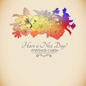 Vintage colorful floral bouquet, greeting card
