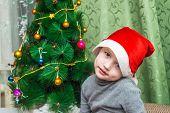Boy sitting in a cap of Santa Claus at Christmas tree