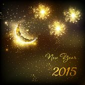 Happy New Year vector celebration background fireworks with moon, easy all editable