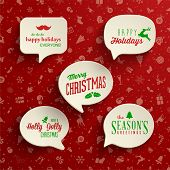 Collection of Holiday Speech Bubbles with various messages. Vector Illustration