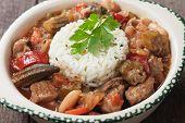 Pork, okra and vegetable gumbo, classic cajun cuisine