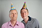 birthday father and son with party hats