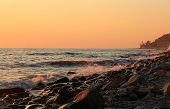 Sunset Over The Black Sea At The Evening