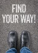 Text on the floor - Find your way