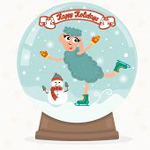 Christmas Snow Globe With Funny Sheep. Happy Holidays