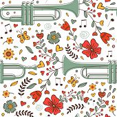 Seamless pattern with saxophone and flowers