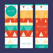 Vector vibrant ikat stripes vertical banners set pattern background