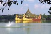 Floating royal barge in Yangon, Myanmar