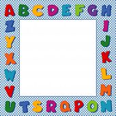 Alphabet Frame, Blue Gingham Check