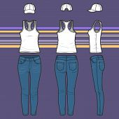 Racer Top, Cap And Jeans Set
