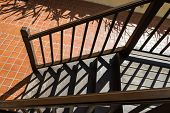 Bannister Shadow On Wooden Stair Step
