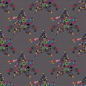 Vector collection of decorative stars with seamless pattern