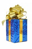 Blue gift with golden bow